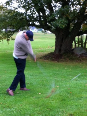 Steven out of the rough during the epic rain match of September 2012.