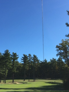 You might notice this tower hanging over you for the first few holes... I couldn't help but wonder how much one gets paid for climbing that thing.